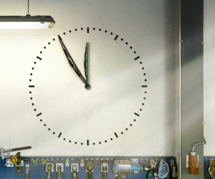 Clock in a garage